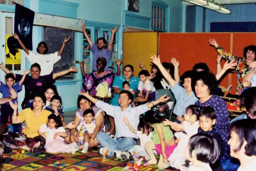Parents and young children in classroom
