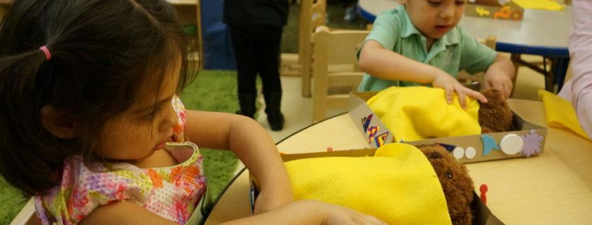 Briya prekindergarten students practicing bedtime routines