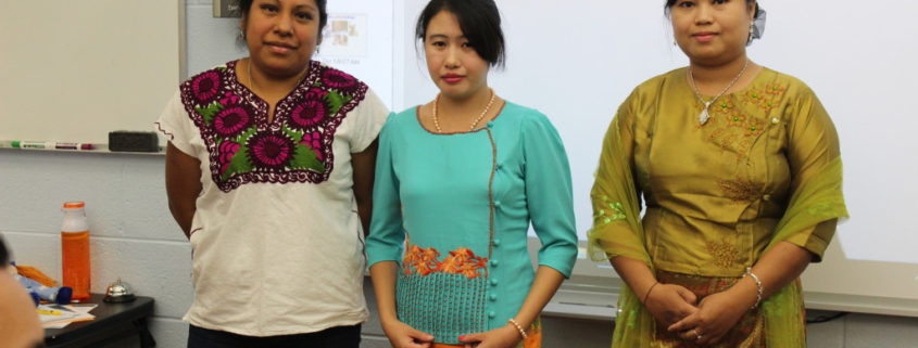 Students share clothing from their countries