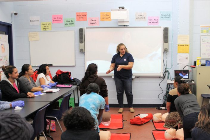 Students listen to CPR instructor