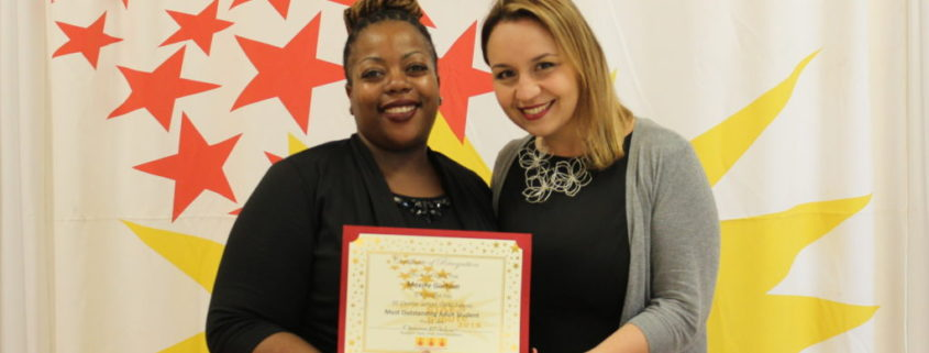 Maxine Gorham, a 2016 Briya Child Development Associate graduate, was awarded Most Outstanding Adult Student at the 2016 STARS Tribute
