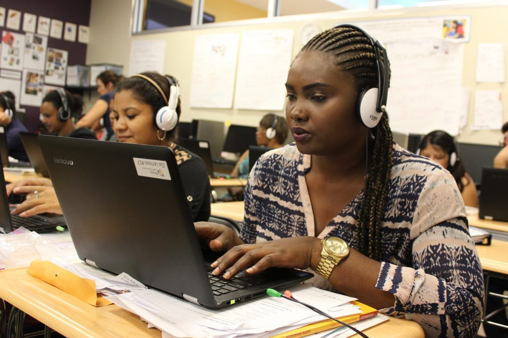 Adult students in computer lab