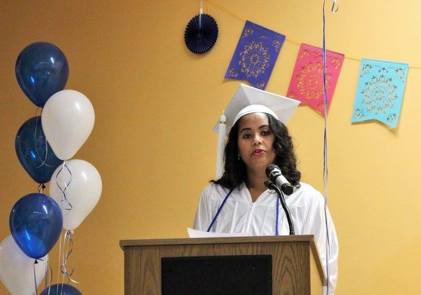 Valedictorian giving her speech