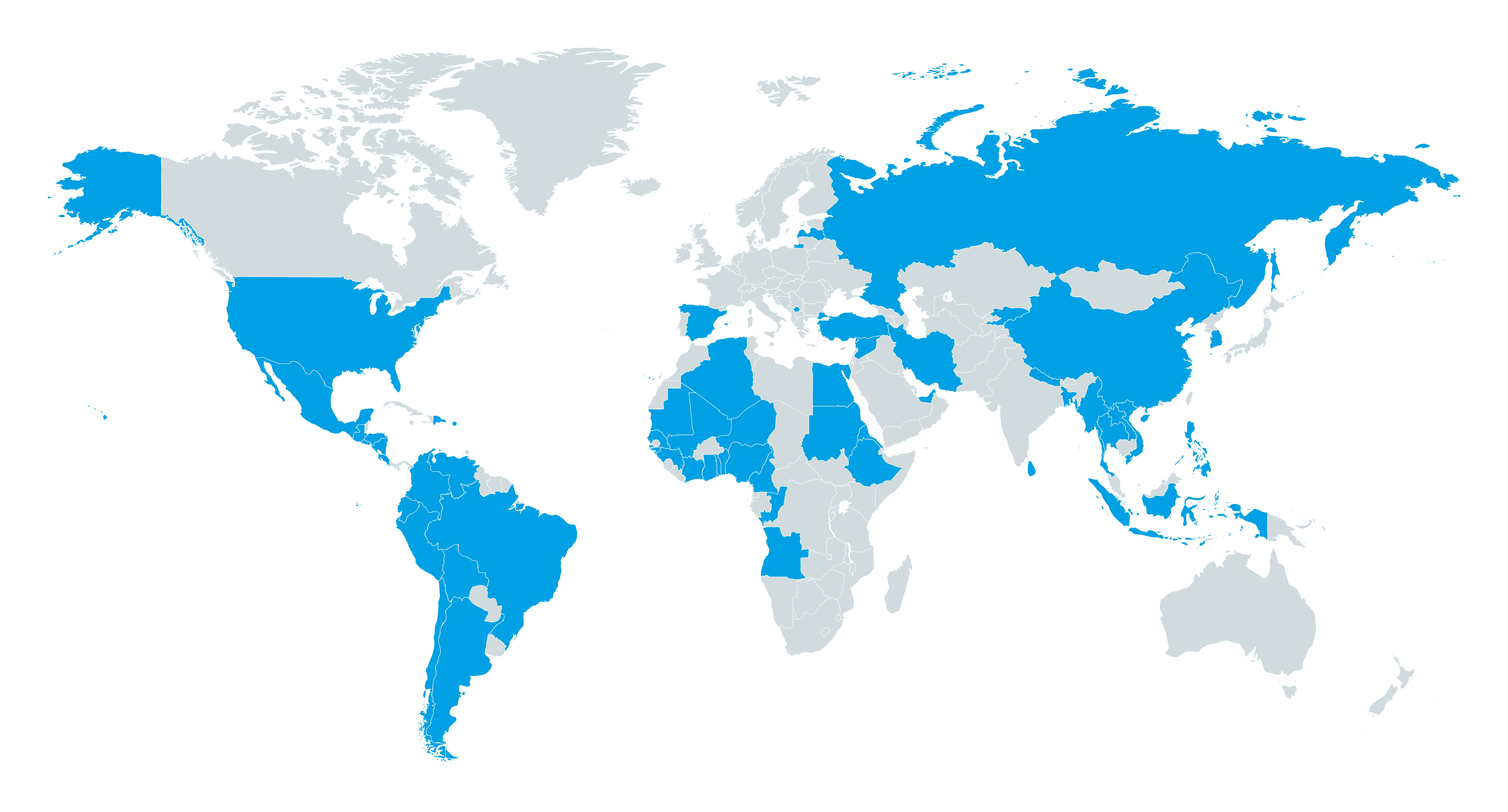 world map with countries represented by students and staff highlighted