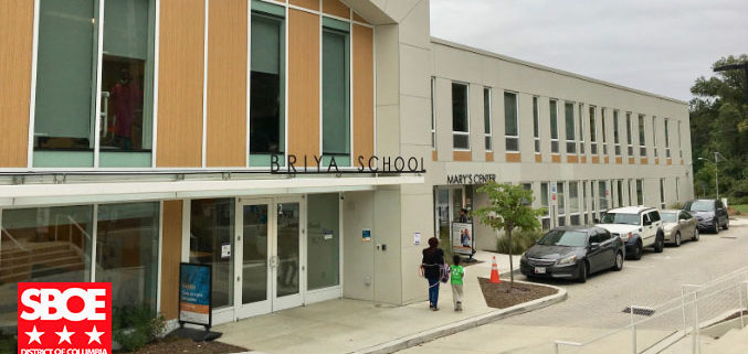 photo of the Briya building with SBOE logo